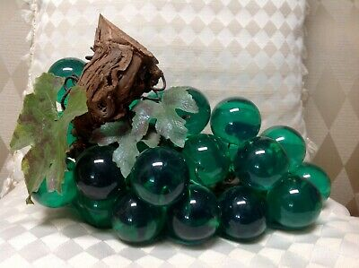 """Mid Century Lucite Grapes on driftwood 10.5"""""""