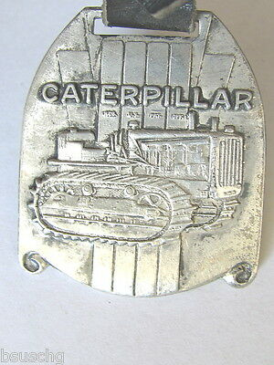 Early Version Caterpillar Tractor Co Peoria Dozer Watch Fob Scroll Bottom