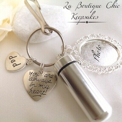 Dad/Mum/Son/Daughter/Brother/Sister Memorial Cremation Ashes Urn Keyring photo