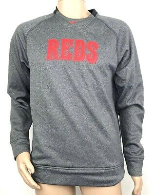 newest 7a186 daa08 Nike Therma-Fit Mens Cincinnati Reds Crewneck Sweatshirt Grey   Red Size  Small