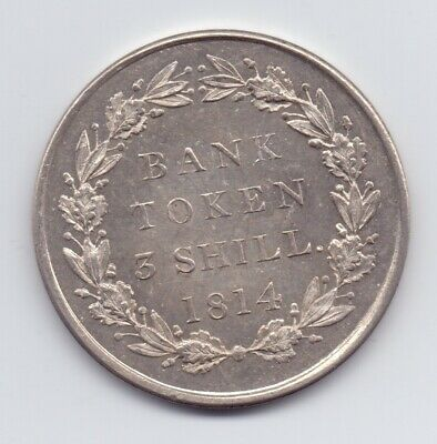1814 3 Shilling Large Silver Bank Token 19th Century George III