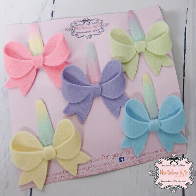 Set of 5 Pastel Bow Handmade Hair Clips Newborn Baby Girls Infant Toddler