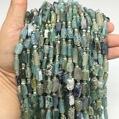 "1 Strand,7mm-15mm,15""Ancient Rough Freeform Roman Glass Beads Strand,BN115"