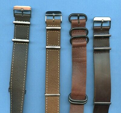 BROWN GENUINE LEATHER NATO G10 WATCH STRAP 18mm 20mm 22mm 24mm