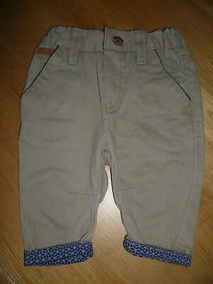 Designer Ted Baker Beige Cotton Chino Trousers Blue Turn Ups Age 3 - 6 months