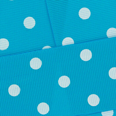 Turquoise w/ White Dots Grosgrain Ribbon HBC - HairBow Center (USA company)