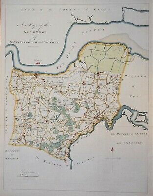 """Kent - A Map Of Toltingtrough And Shamel For Hasted's """"History Of Kent"""" 1778"""