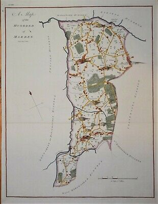 """Kent - A Map Of Marden For Hasted's """"History Of Kent"""" 1778"""