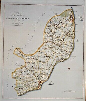 """Kent - A Map Of Cornilos & Bewsborough For Hasted's """"History Of Kent"""" 1778"""