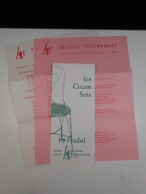 Vintage Fradol Ice Cream Sets Catalogue / Price List 1964 - Wire Chairs / Tables
