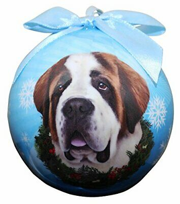 """""""Saint Bernard Christmas Ornament"""" Shatter Proof Ball Easy To Personalize"""