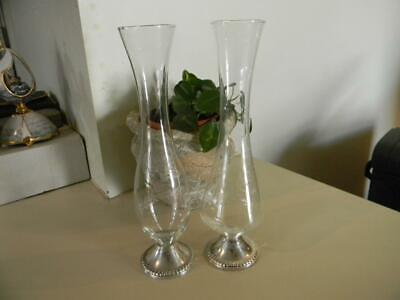 Pair Of Vintage Mayflower Sterling Silver and Etched Glass Bud/Flower Vases 10""