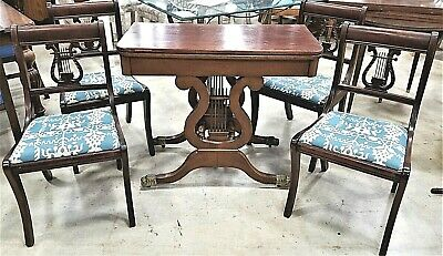 Antique 1930's Lyre Harp Mahogany Brass Footed Dining Gaming Table + 4 Chairs