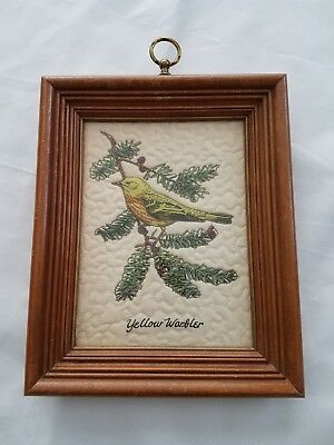 Vintage Yellow Warbler Bird Quilted Wall Art Framed