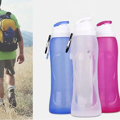 Silicone Portable Foldable Water Bottle 500ml Collapsible Drink Sports Hiking YI