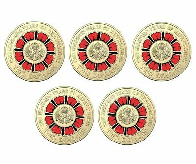 5 x UNC 2019 A Hundred Years Of repatriation Multi Colour $2 Coins, RAM Bag