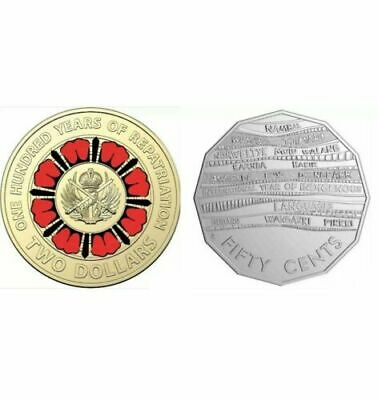 2019 Australian  $2 Repatriation Coloured & 50c Indigenous Languages UNC Coin