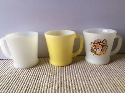 3 Fire King D Handle Mugs Anchor Hocking Tony, White, Yellow Lot of 3