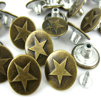 """5//8/""""x3//8/"""" 125Sets Bronze Tone Pattern Jeans Tack Buttons 17x8mm"""