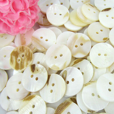 """20/50/100 3/4"""" Mother of Pearl Real Shell Round 2-hole Sewing Buttons 20mm"""