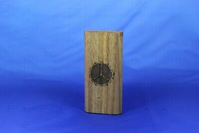 "4"" Peace Sign Engraved Exotic Wood Dugout Slide Top With Solid Brass Bat"