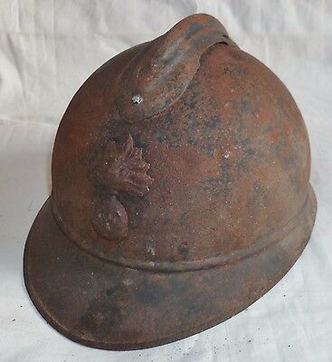 "Casque WWI Adrian 1915 INFANTERIE ""dans son jus""ORIGINAL French Helmet 1914/1918"