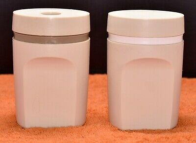 Vintage Tupperware Salt & Pepper Shakers #1471 Almond Color Made in USA
