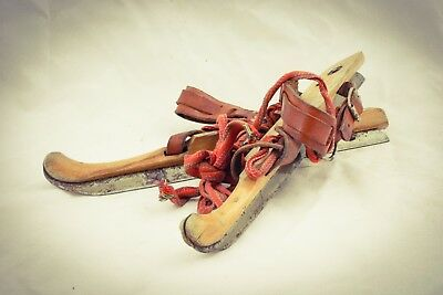 Dutch Antique Wooden Ice Skates Friese Marked Folk Art Skating Sport Christmas