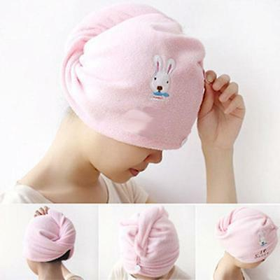 Microfibre Hair Drying Towel Wrap Turban Bath Shower Head Hat Bun Cap Dry Women