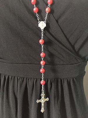 Red rosary beads NEW, Blessed in Fatima, #2