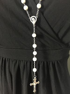 White rosary beads NEW, Blessed in Fatima, #1