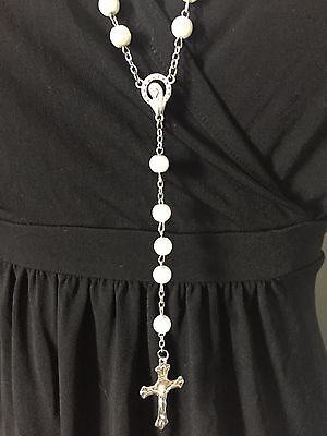 White rosary beads NEW, Blessed in Fatima, #3
