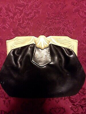 """Antique Leather clutch black with Bakelite top and handle.  Flip closure. 9"""" w"""