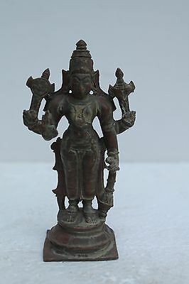 Vintage Old Copper Bronze Handcrafted Engraved Vishnu Figure Collectible NH1365