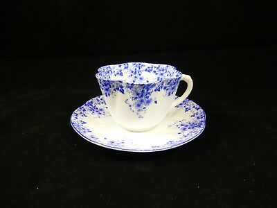 Vintage Shelley Dainty Blue Daisy Pattern Cup And Saucer Fine Bone China England