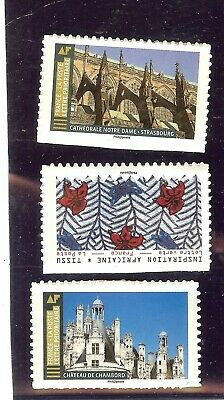 Timbres France autoadhésif neuf ** 3 TIMBRES SORTIS EN 2019 TISSUS, CHAMBORD ECT