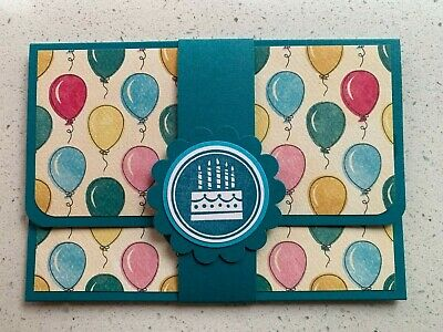 HANDMADE BIRTHDAY gift card holder. Balloons. Fits credit card sized gift cards.