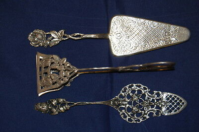 2 Dainty Old Cake Lifter and Pastry Tongs Silver 800 113,6g Vz , Best