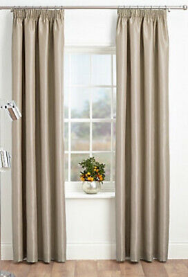 """Marks & Spencer Curtains Faux Silk Blackout Pencil Pleat Oatmeal 54x65"""" NEW (G1)"""