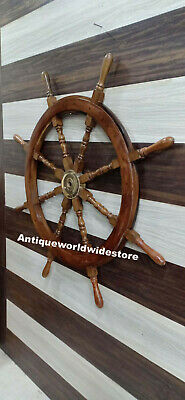 Nautical 42'' Wooden Ship Wheel  Vintage Pirate Well Decor