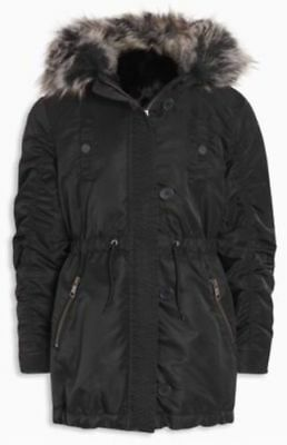 Next -Black Shower Resistant Faux Fur Lined Hooded Zip Parka Coat Girls 3 Years
