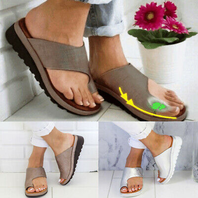 Womens PU Leather Beach Sandals Ladies Comfy Platform Shoes For Bunion Corrector