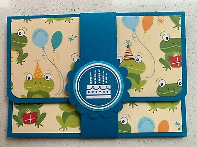 HANDMADE BIRTHDAY gift card holder. Frogs. Fits credit card sized gift cards.
