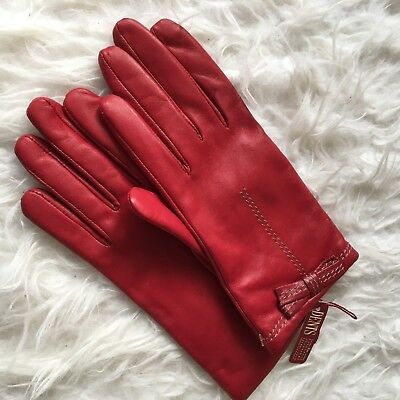 NEW Dents Ladies Red Soft Leather Bow Knit Lined Gloves Size 7.5 07-2179
