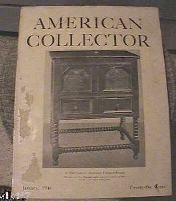 Vintage American Collector Magazine January 1940