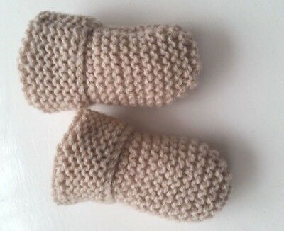 Baby's Hand Knitted Mittens, Beige, Acrylic Wool, 6-12 Months New