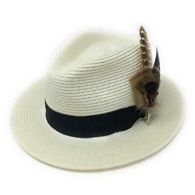 71b7ee42 Cream Ladies Panama Style Summer Sun Hat with Removable Feather Brooch