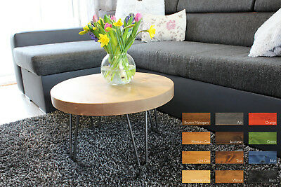Chunky,Rustic, Industrial, Wood Rounded Coffee Table Metal Hairpin Legs