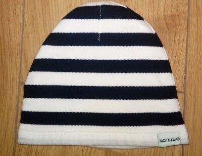 New Boys Black And White Stripe Organic Cotton Hat Age 6/12 Months