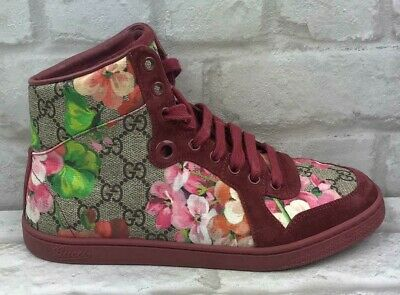 586a78cab Authentic RARE Gucci Bloom Floral Hi Top Suede Sneakers Trainers GG Canvas  VGC